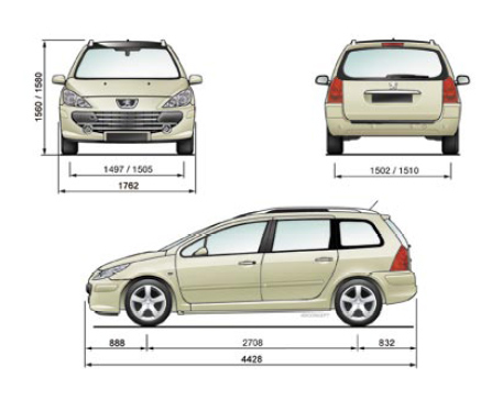 peugeot 307 break dimensions