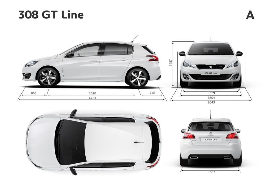 Croquis officiel des dimensions extérieures (GT-Line)
