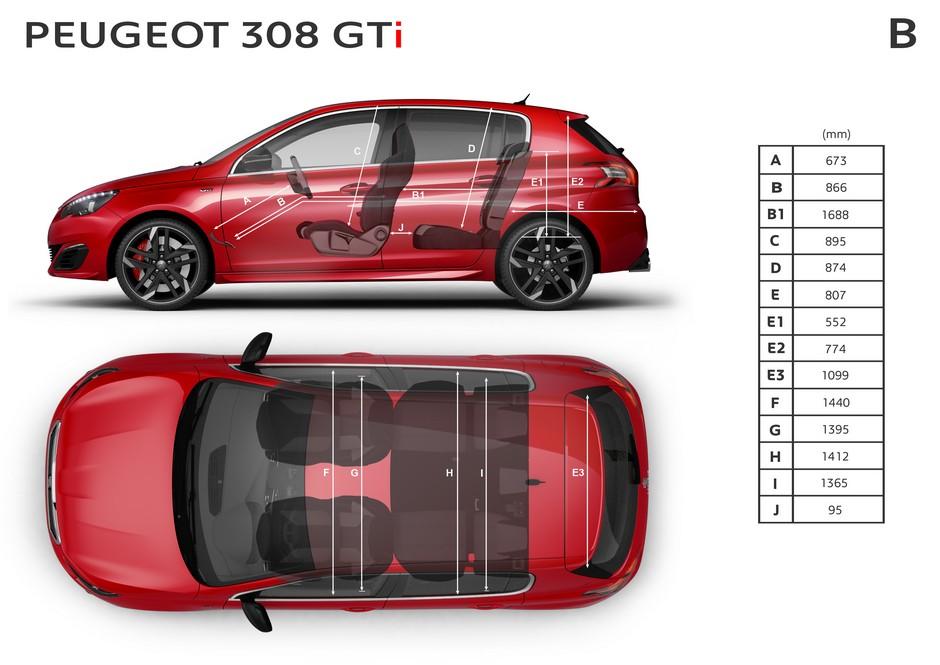 Croquis officiel des cotes intérieures de la Peugeot 308 GTi by Peugeot Sport