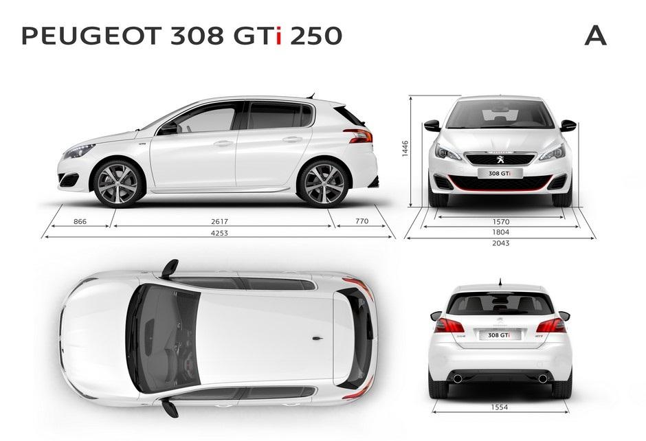 Les dimensions extérieures de la Peugeot 308 GTi by Peugeot Sport 250