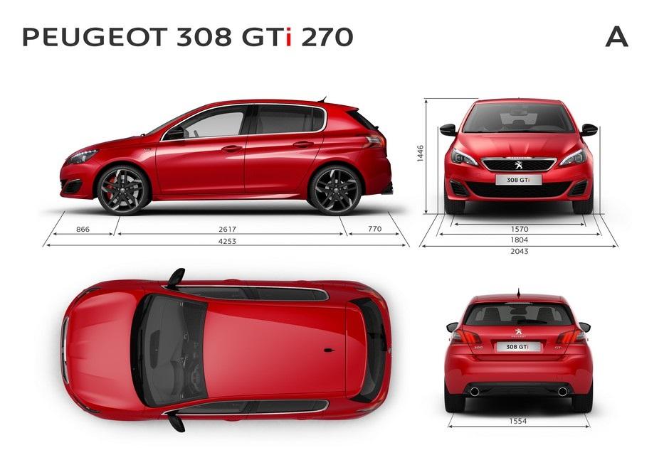 Les dimensions extérieures de la Peugeot 308 GTi by Peugeot Sport 270