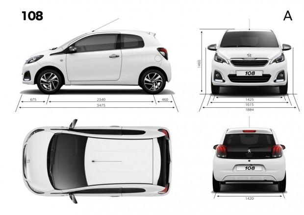 Dimensions extérieures de la Peugeot 108