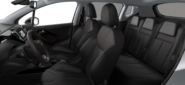 Peugeot 2008 : Pack Cuir Claudia Noir Mistral avec surpiqûres rouges