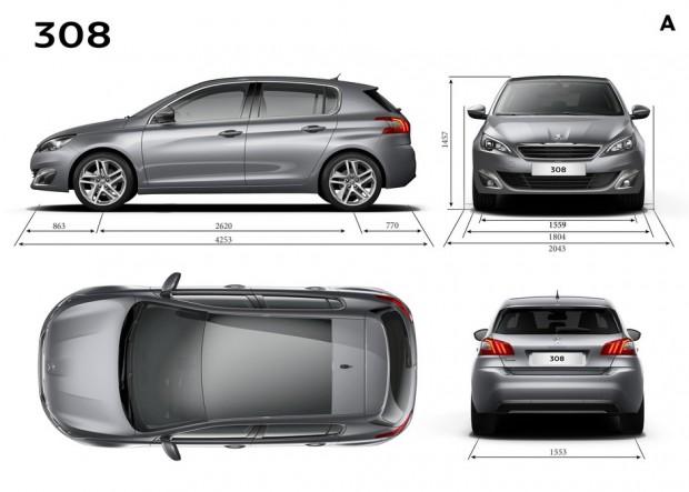 Dimensions extérieures de la Peugeot 308