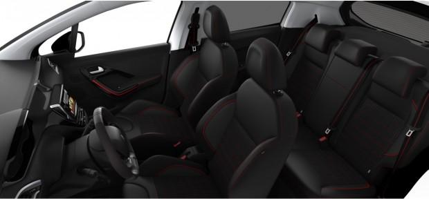 Peugeot 208 GT-Line : Mi-TEP PU Mistral Oxford Noir - Rouge