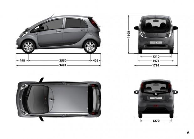 Dimensions extérieures de la Peugeot iOn