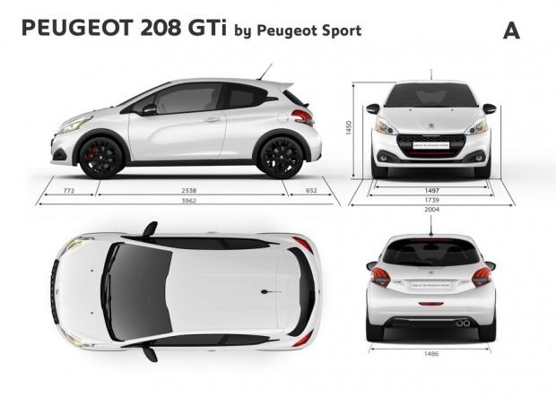 Dimensions extérieures de la Peugeot 208 GTi by Peugeot Sport