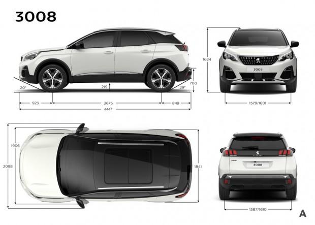 Dimensions extérieures du Peugeot 3008