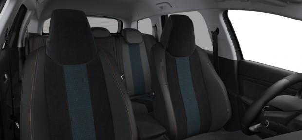 Peugeot 308 SW Tech Edition : TEP/Alcantara Noir Mistral avec surpiqûres Bleu Cyan/Orange Intense