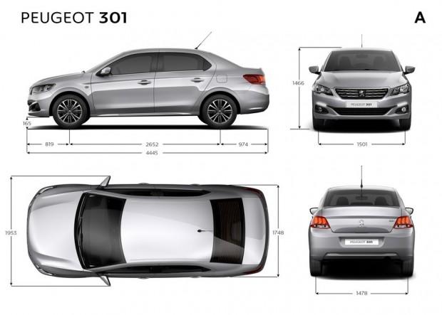 Dimensions extérieures de la Peugeot 301