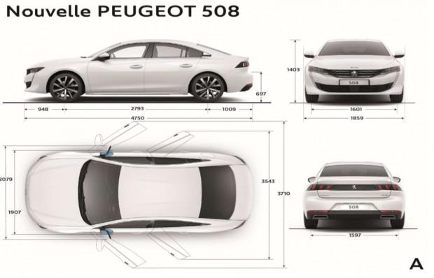 Les dimensions extérieures de la Peugeot 508