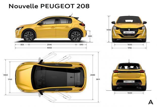 Les dimensions extérieures de la Peugeot e-208